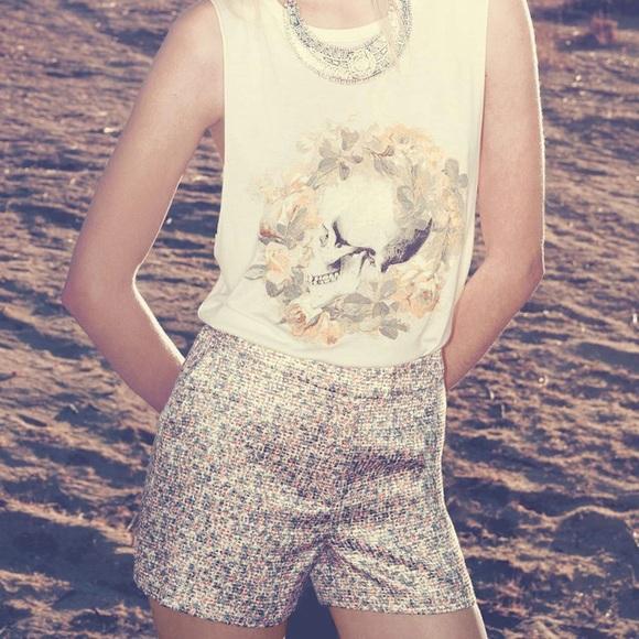 ASTR high waisted floral jacquard shorts